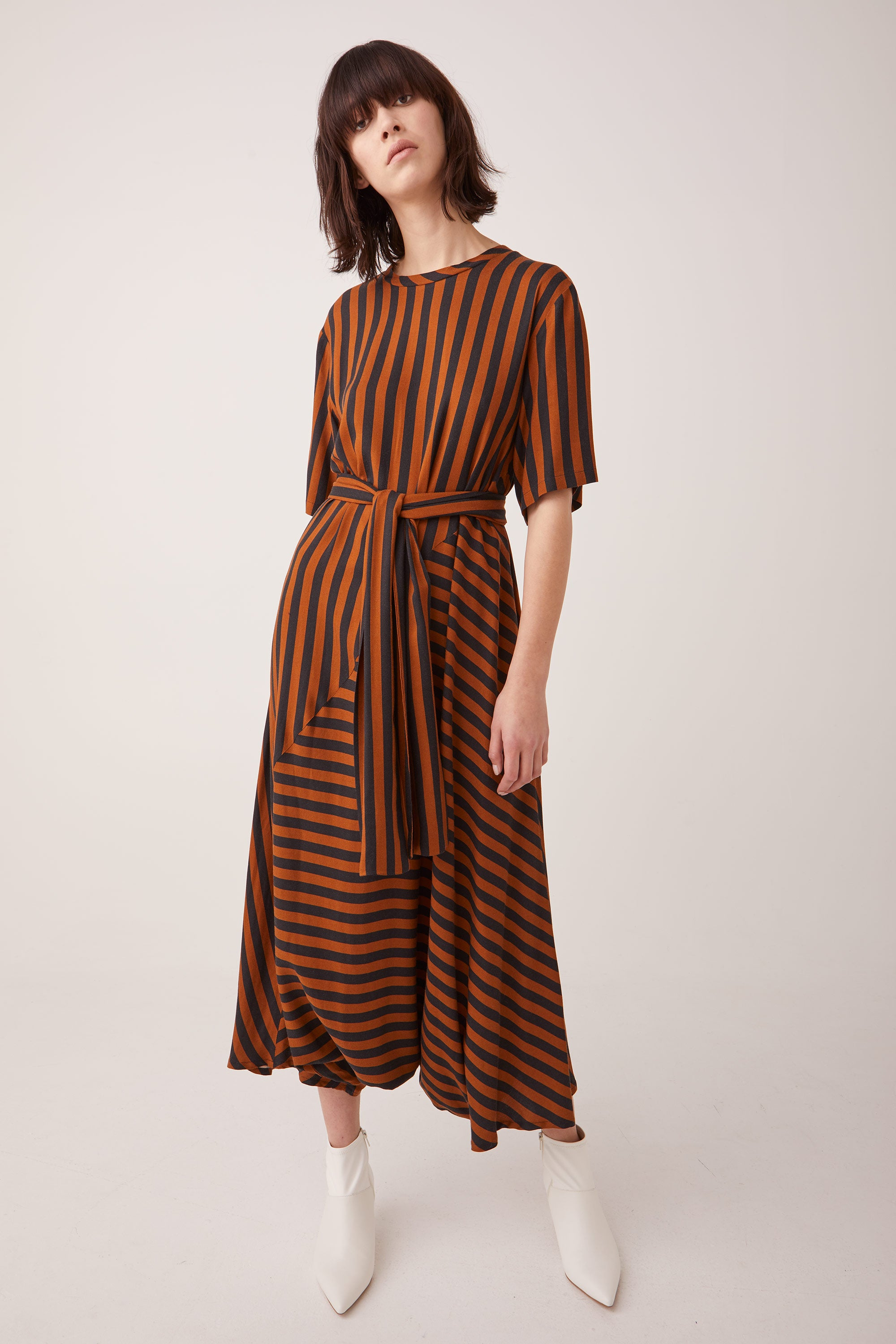 Ricochet NZ Fashion Designer Clothing Boutique AW19 Ville Dress Black Brown Stripe Made in NZ