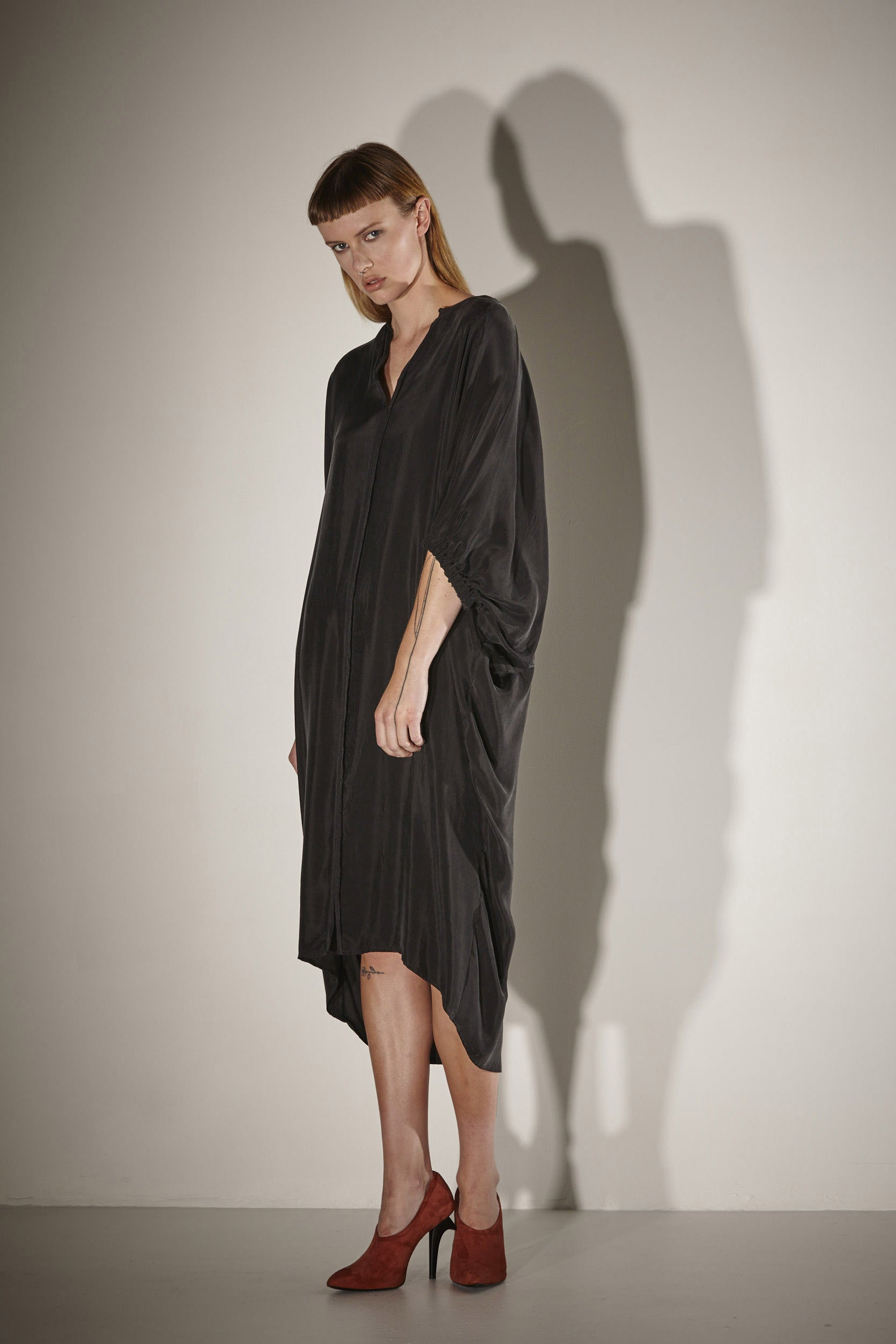 Ricochet NZ Fashion Designer Clothing SS17 Cupro Batwing Sleeve Mizu Dress Made in NZ Black