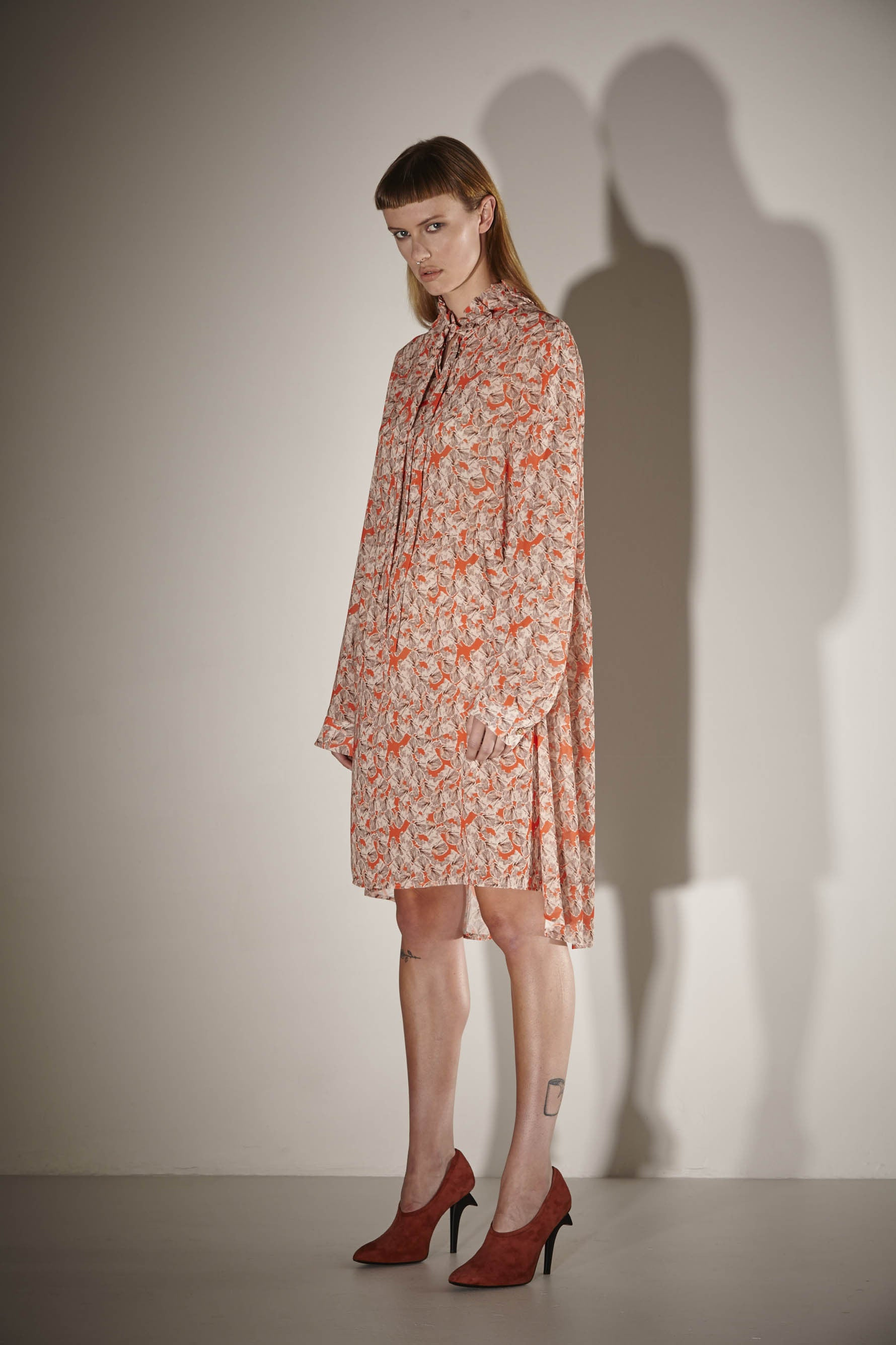 Ricochet NZ Fashion Designer Clothing SS17 Exclusive Pop Iris Print Oversize Frill Neck Artista Shirt Dress Made in NZ