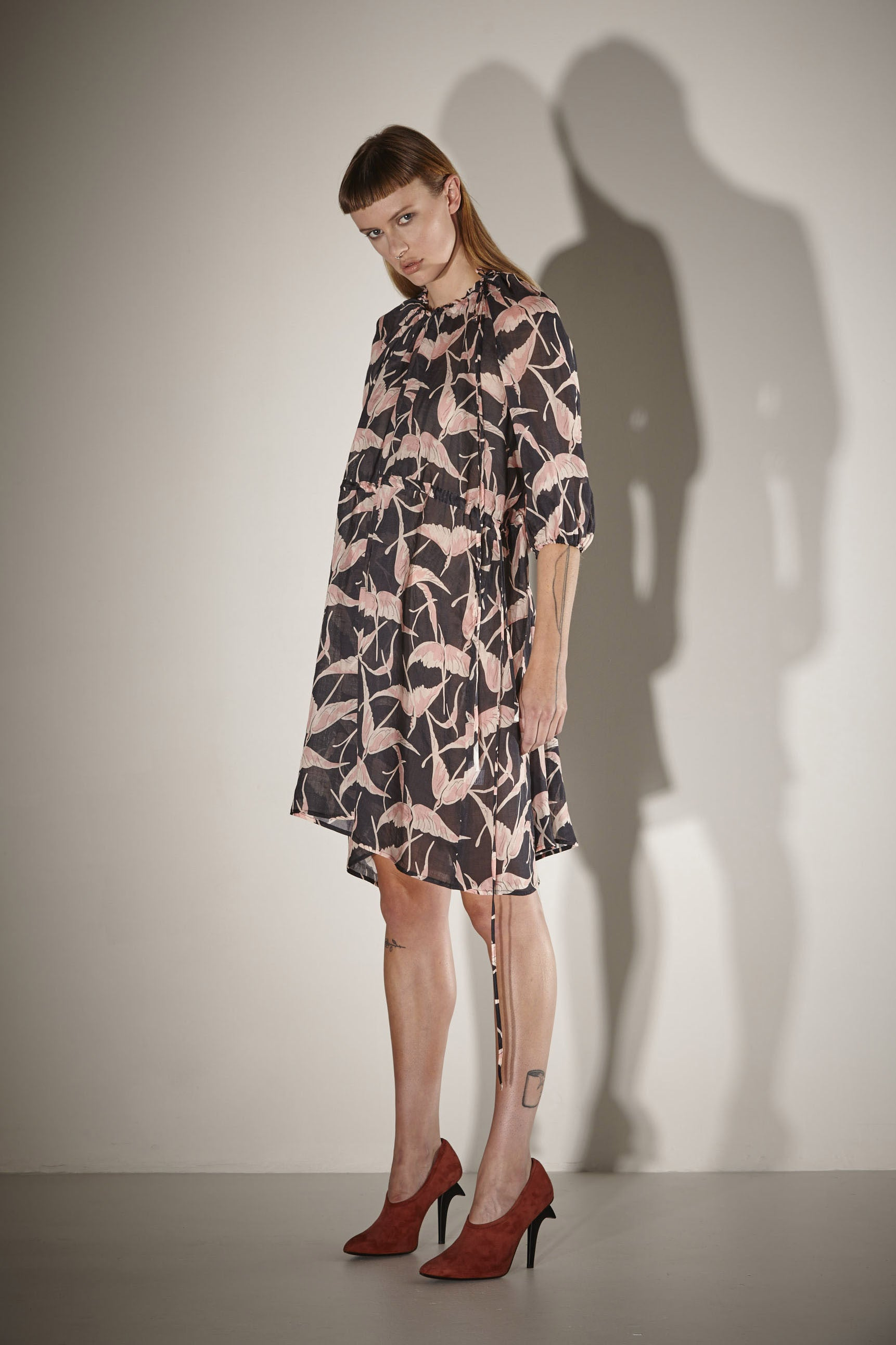 Ricochet NZ Fashion Designer Clothing SS17 Exclusive Storkville Print Ramie Gathered Neck Sarah Dress Oversize