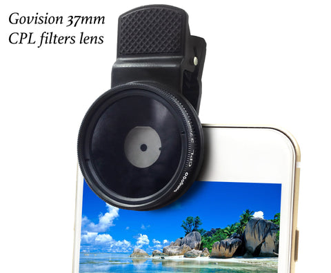 【AV009】 Bomgogo 37mm CPL Filter Lens, Professional Cell Phone Camera Circular Polarizer Lens Kit