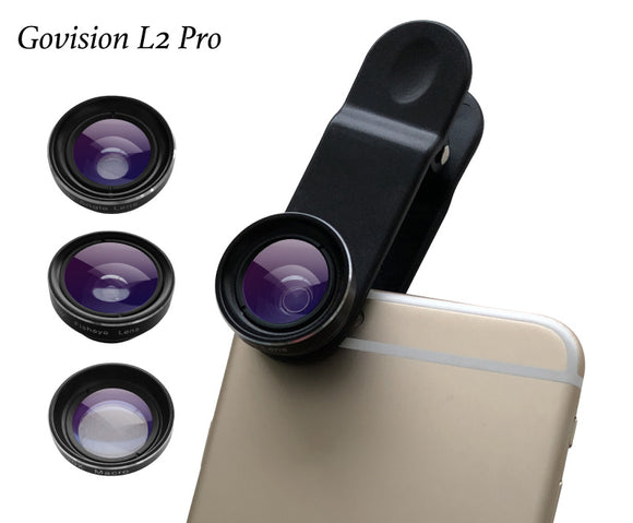 【AV046】Bomgogo Govision L2 Pro Wide Angle,Fish Eye, Macro 3 in 1 Phone Camera Lens Kit