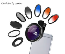 Load image into Gallery viewer, 【AV016】Govision L3 10 in 1 0.5X Wide Angle Lens, 15X Macro Lens & 58mm Lens Filters Combo