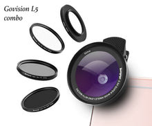 Load image into Gallery viewer, 【AV017】Bomgogo Govision L5  6 in 1 0.5X Wide Angle Lens, 15X Macro Lens & 52mm Lens Filters Combo