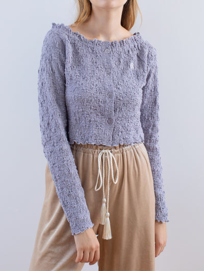 Fluffy mellow off shoulder tops|REVEYU