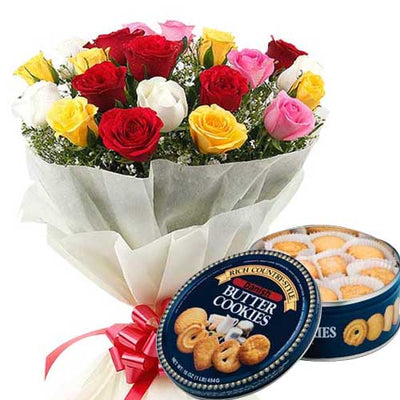 Celebrations | Rose Bouquet & Danish Butter Cookies flowers CityFlowersIndia