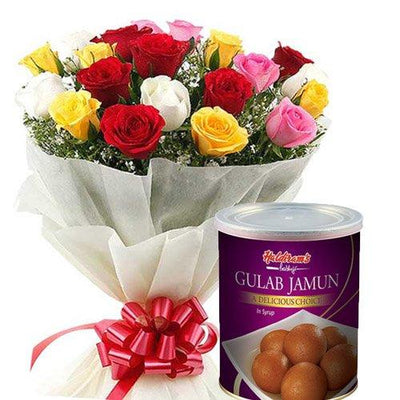 Haldiram's Sweets & Rainbow Rose Bouquet flowers CityFlowersIndia