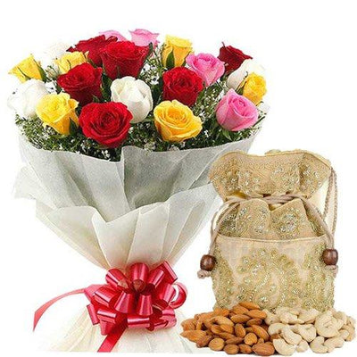 Assorted Dry Fruits & Roses Bountiful Wishes flowers CityFlowersIndia