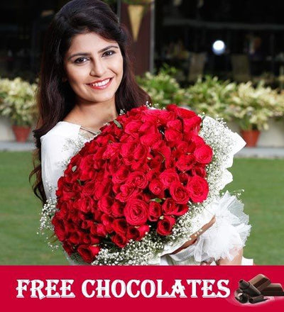 Loving It - Long Stem Red Rose Bouquet & FREE Chocolates flowers CityFlowersIndia