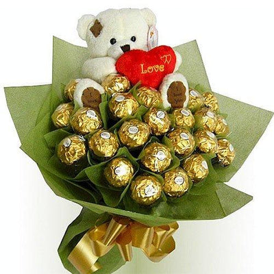 Ferrero Rocher Bouquet with Cute Bear (6 inch) flowers CityFlowersIndia