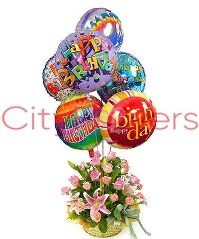 PINK SURPRISE WITH MYLAR BALLOONS flowers CityFlowersIndia