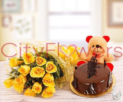 THREE IN ONE - SURPRISE WITH CAKE flowers CityFlowersIndia