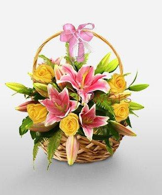 GLORIOUS BASKET ARRANGEMENT flowers CityFlowersIndia