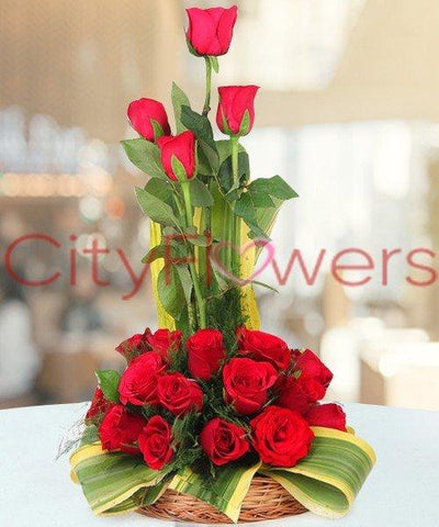 CAPTIVATING RED BASKET flowers CityFlowersIndia