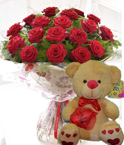 Expressions of Love (With Bear) flowers CityFlowersIndia