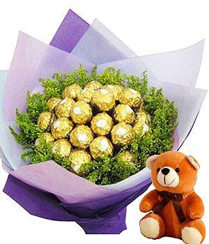 Chocolate Bouquet & Cute Bear (Ferrero Rocher) flowers CityFlowersIndia