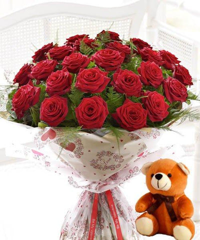 Cheerful Valentine Surprise with Cute Bear flowers CityFlowersIndia