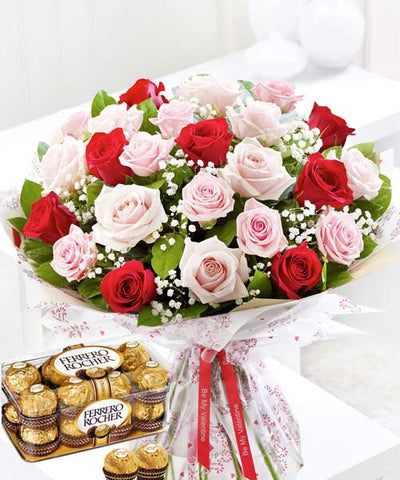The Sweet Surprise (With Ferrero Chocolate Box) flowers CityFlowersIndia