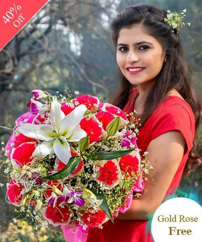 Red Charming Surprise by City Flowers - Free Golden Rose flowers CityFlowersIndia