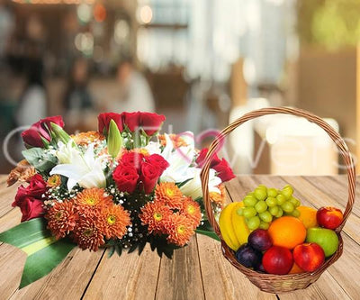 HEALTHY FRUITS & BLOOM BASKET flowers CityFlowersIndia