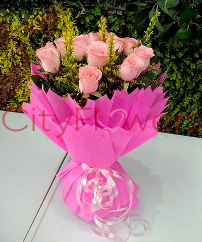 PINK SHOWER BOUQUET flowers CityFlowersIndia