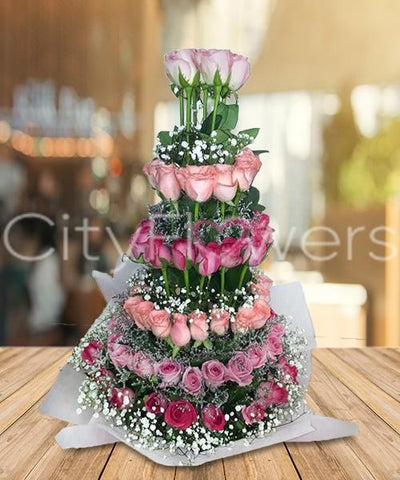 PINK TOWER flowers CityFlowersIndia