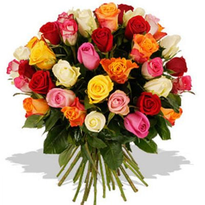50 Multi Colored Roses bouquet flowers CityFlowersIndia