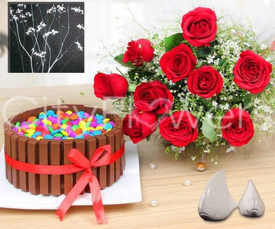 A RED DAZZLING SURPRISE WITH KIT-KAT CAKE flowers CityFlowersIndia