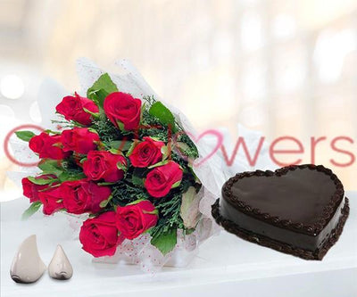 LOVE CAKE SURPRISE flowers CityFlowersIndia