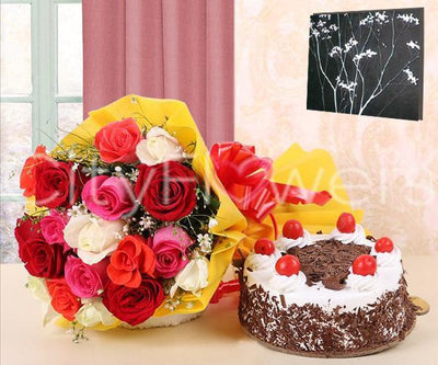 CAKE CELEBRATIONS WITH ASSORTED ROSES flowers CityFlowersIndia