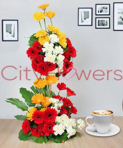 LUSTRE COLOURFUL BASKET flowers CityFlowersIndia