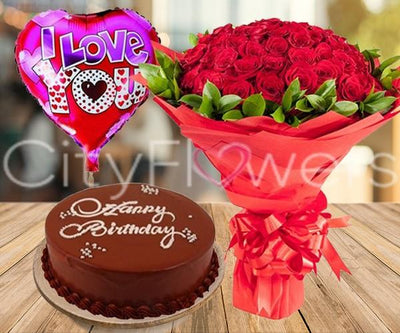 PERFECT LOVE COMBO WITH CAKE flowers CityFlowersIndia