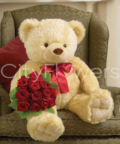 BIG BEAR WITH ONE DOZEN ROSES flowers CityFlowersIndia