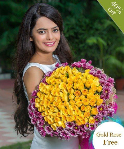 Gorgeous Yellow by City Flowers - Free Gold Rose flowers CityFlowersIndia