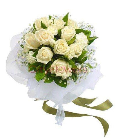 DOZEN PURE WHITE BUNCH flowers CityFlowersIndia