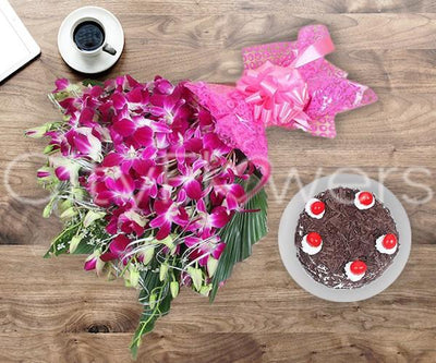 PERFECT DAY WITH CAKE flowers CityFlowersIndia