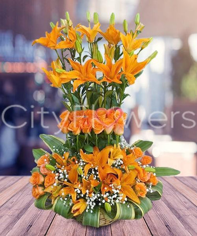 A HUGE LILY ARRANGEMENT flowers CityFlowersIndia