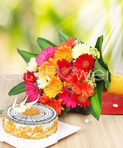 A DIP OF FRIENDSHIP WITH CAKE flowers CityFlowersIndia