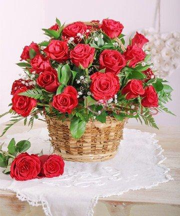RED ROSES BASKET flowers CityFlowersIndia