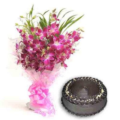 Orchids Cake Surprise flowers CityFlowersIndia