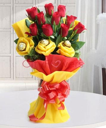 EXPRESSIONS OF RED & YELLOW flowers CityFlowersIndia