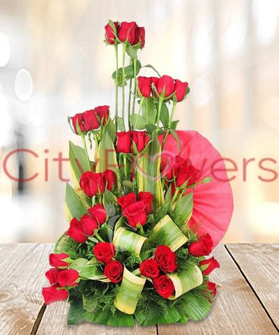 BASKET OF RED ROSES flowers CityFlowersIndia
