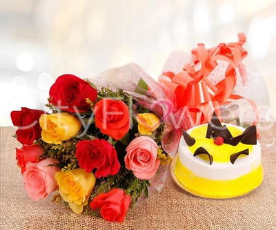 ETERNAL SWEETNESS WITH CAKE flowers CityFlowersIndia