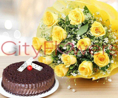 A BRIGHT TREAT WITH CAKE flowers CityFlowersIndia
