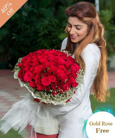 Lovely Red Roses By City Flowers - Golden Roses Free flowers CityFlowersIndia