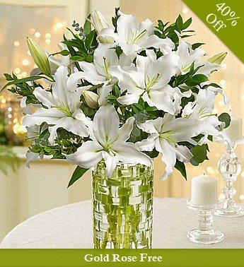 Huge White Beauty By City Flowers - Free Golden Rose flowers CityFlowersIndia