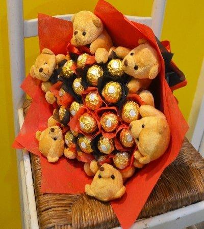 TEDDIES ROCHER SURPRISE flowers CityFlowersIndia