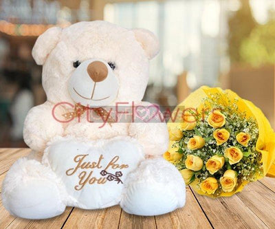 GLORIOUS ROSES N TEDDY BEAR flowers CityFlowersIndia