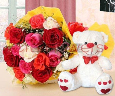 VIBRANT ROSES WITH TEDDY flowers CityFlowersIndia