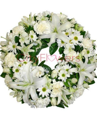 WHITE FLORAL WREATH flowers CityFlowersIndia